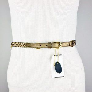 Brown Bronze Gold Chain Faux  Leather Double Belt